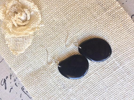 Black Dangle Tagua Nut Earrings