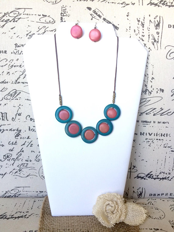 Blue and Pink Tagua Nut Necklace