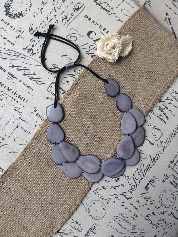 Gray Double layer Tagua nut necklace
