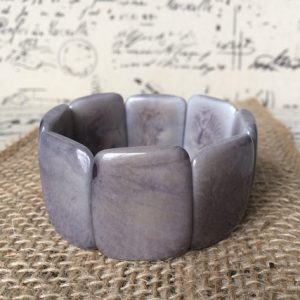 Gray statement Tagua Nut Bracelet