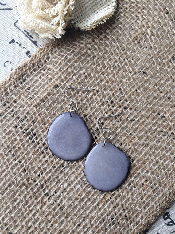 Gray Tagua Nut earrings