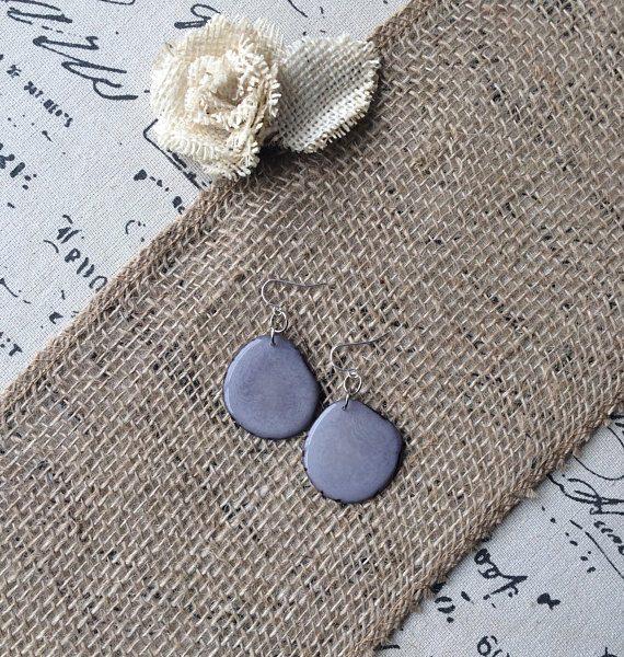 Gray Tagua Nut earrings