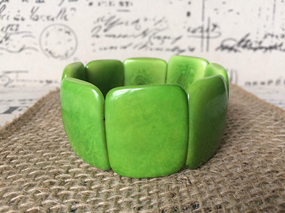 Green Chunky Tagua Nut Earrings