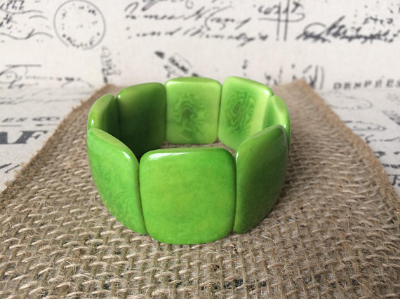 Green Chunky Tagua Nut Bracelet