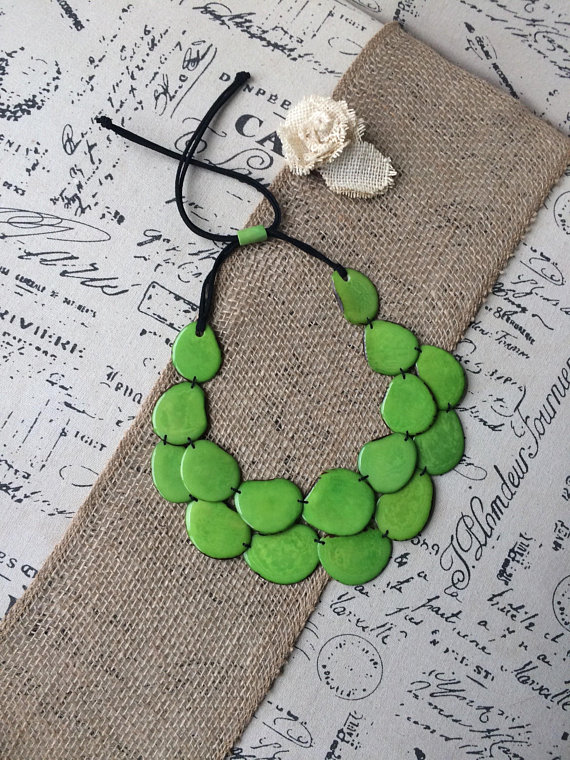 Green Double Layer Tagua Nut Necklace