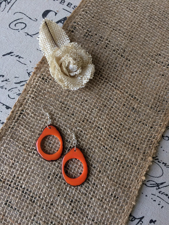 Orange dangle tagua earrings