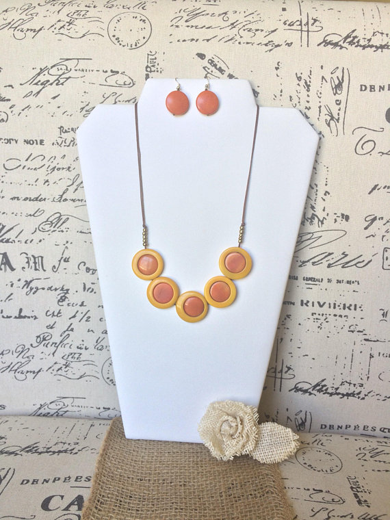 Orange and yellow necklace free earrings