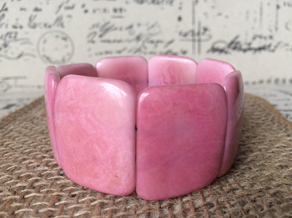 Pink beaded Tagua nut bracelet