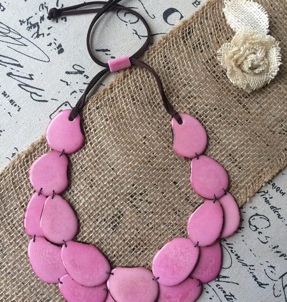 Pink statement tagua necklace