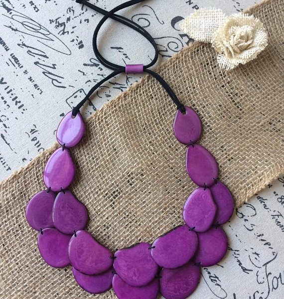 Purple statement tagua nut necklace