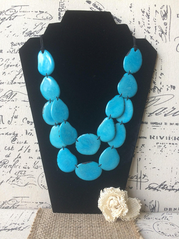 Turquoise layered tagua necklace