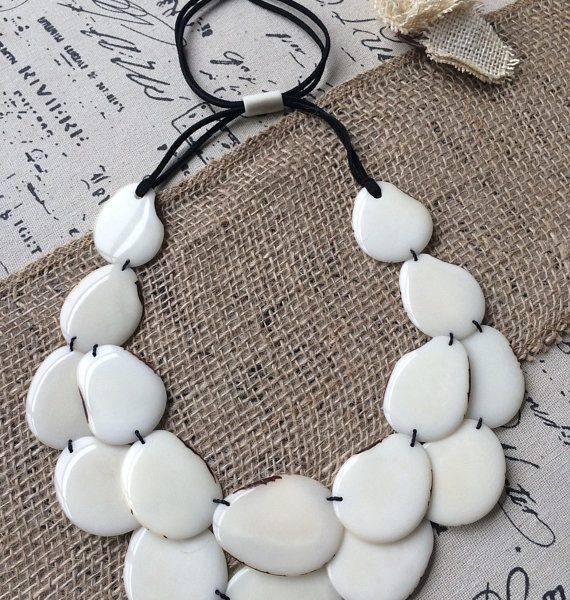 White layered Tagua necklace