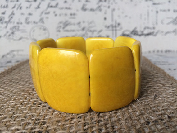 Yellow statement Tagua bracelet