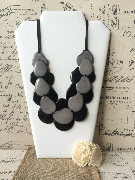 Black and Gray Tagua nut necklace