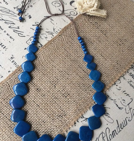 Long blue tagua necklace