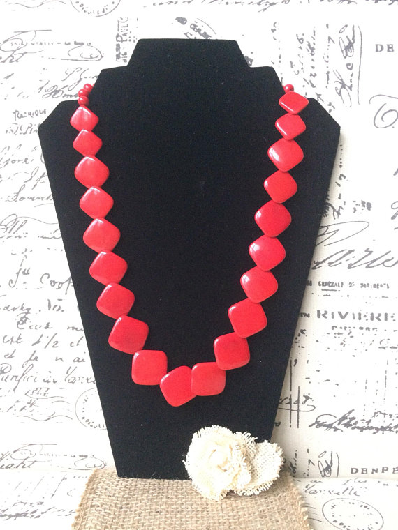 Red long Tagua Nut Necklace