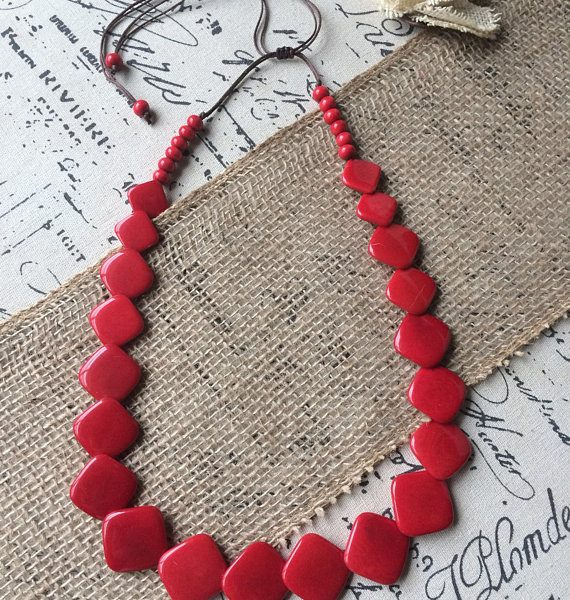 Long red tagua necklace