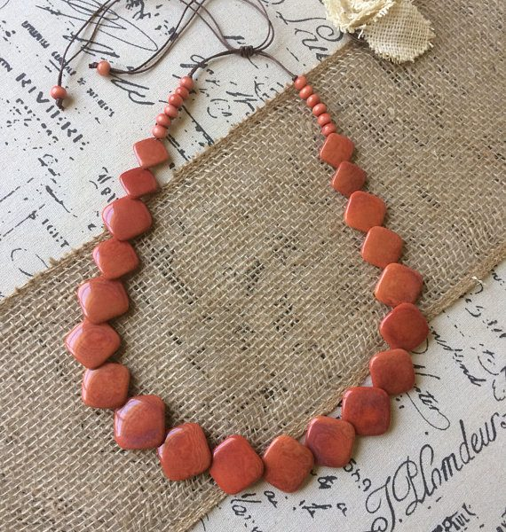 Peach tagua nut necklace