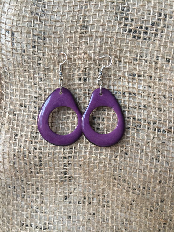 Big dangle purple earrings
