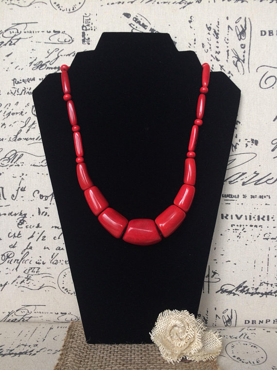 Red beaded tagua necklace