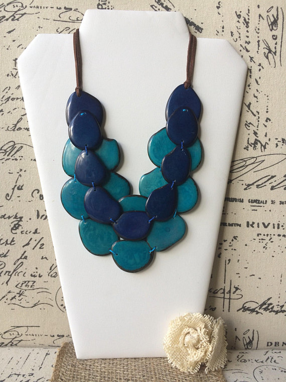 Turquoise and blue tagua necklace