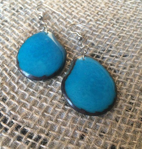 Turquoise tagua earrings