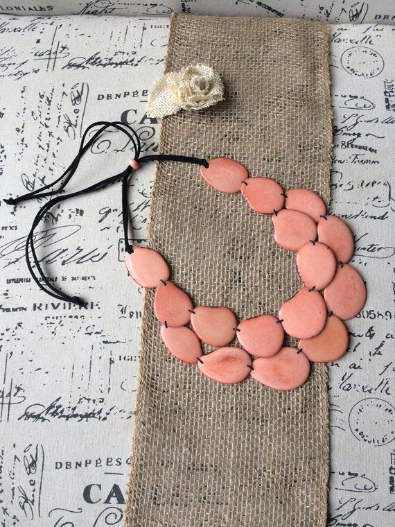 Salmon Statement tagua necklace