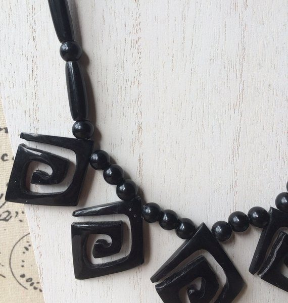 black abstract tagua necklace
