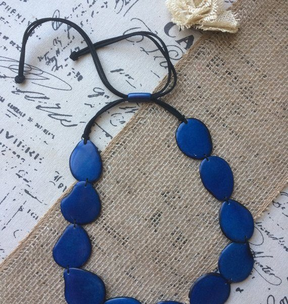 Blue single strand tagua necklace