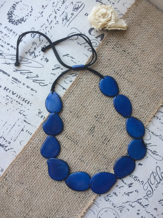 Blue simple tagua necklace