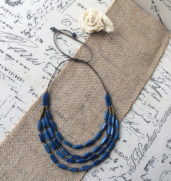 Royal Blue Multi Strand Tagua Nut Necklace