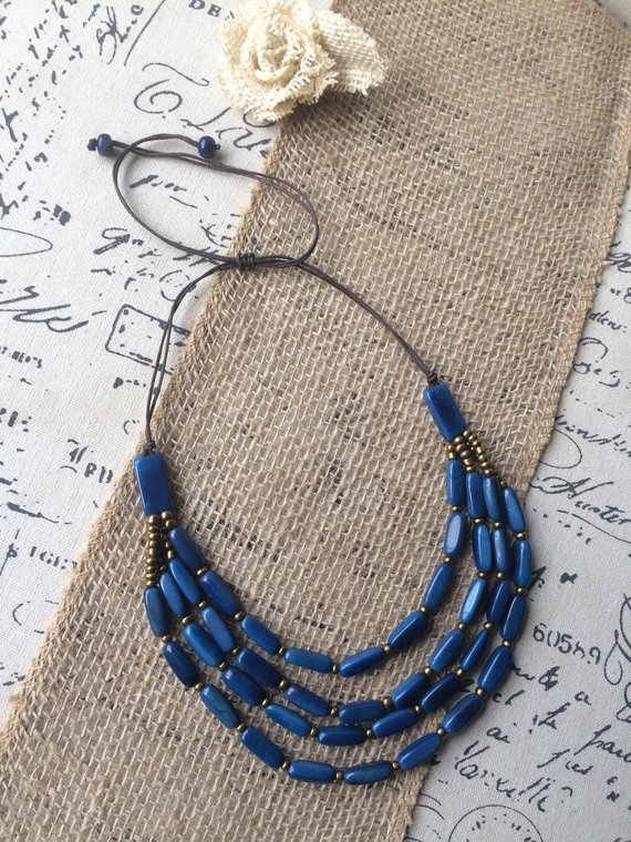 Royal Blue Multi Strand Tagua Nut Necklace
