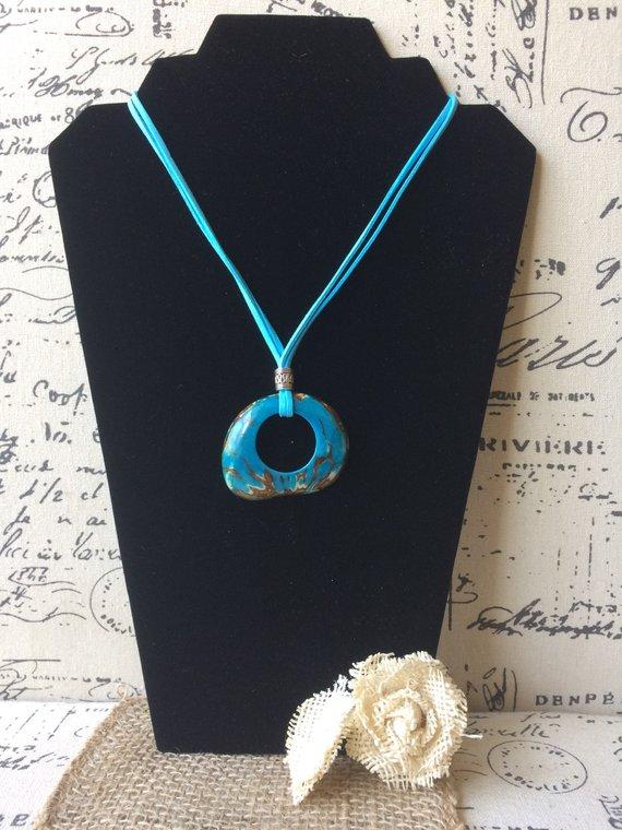 blue tagua pendant