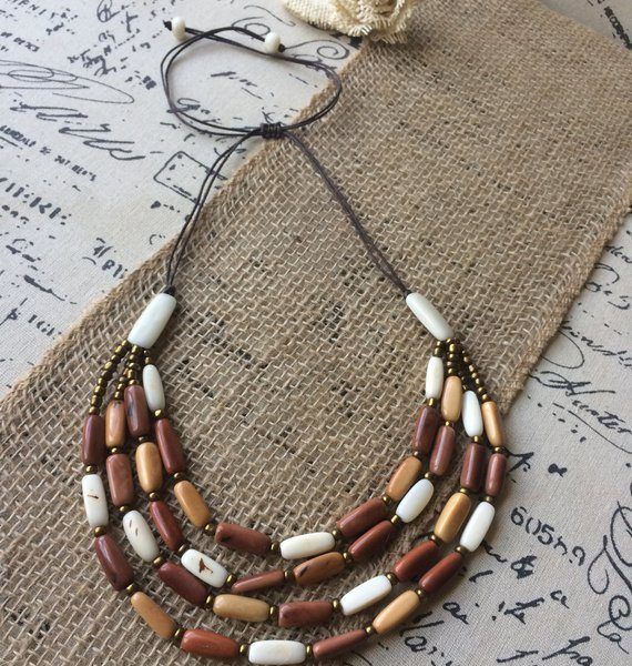 Brown tagua necklace 4 layers