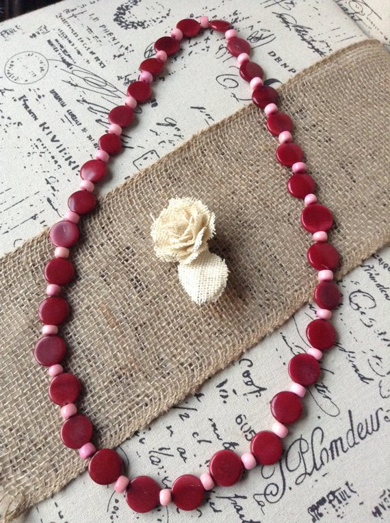 Red Burgundy Geometric Tagua Nut Necklace
