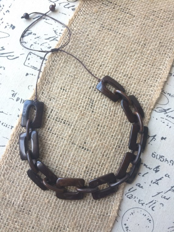 chocolate brown chain necklace