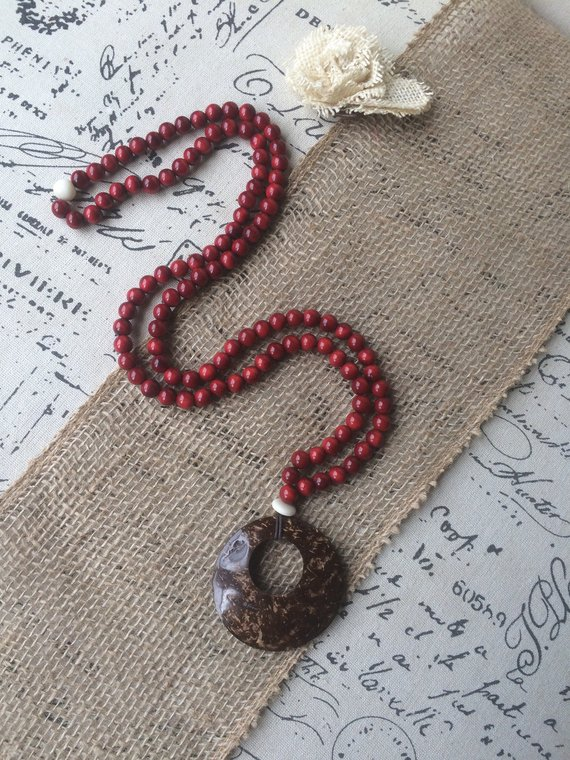Maroon red tagua pendant necklace