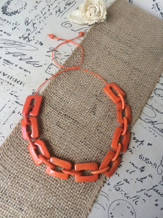 Orange Tagua Nut Chunky Chain Link Necklace