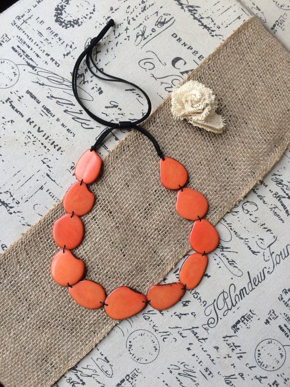 Orange simple tagua necklace