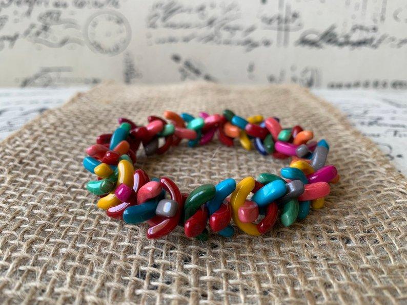 Rainbow tagua bracelet