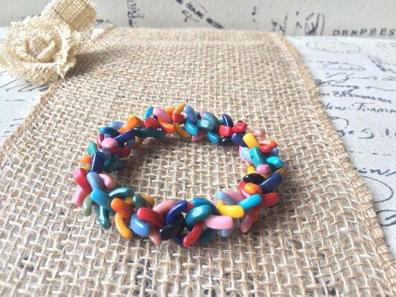 Rainbow Beaded Bracelet Made of Tagua Nut