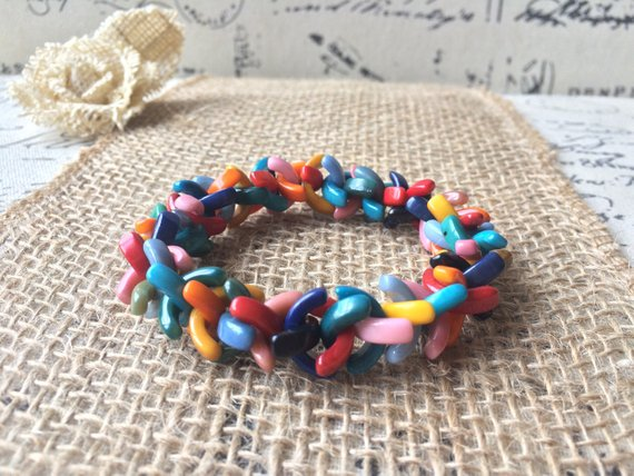 Rainbow Beaded Bracelet Made of Tagua Nut