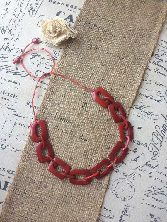 Red chain tagua necklace