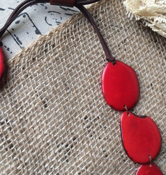 Red simple tagua necklace
