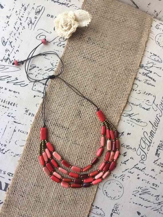 Red tagua nut necklace 4 layers