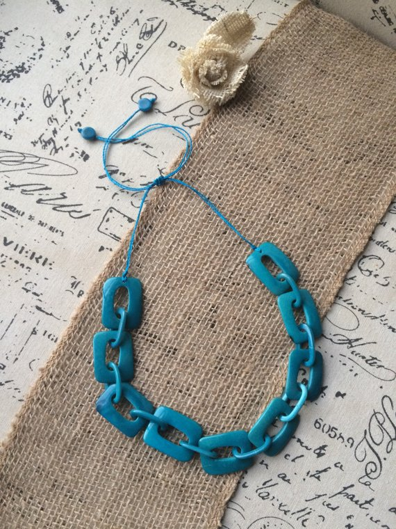 turquoise chain tagua necklace