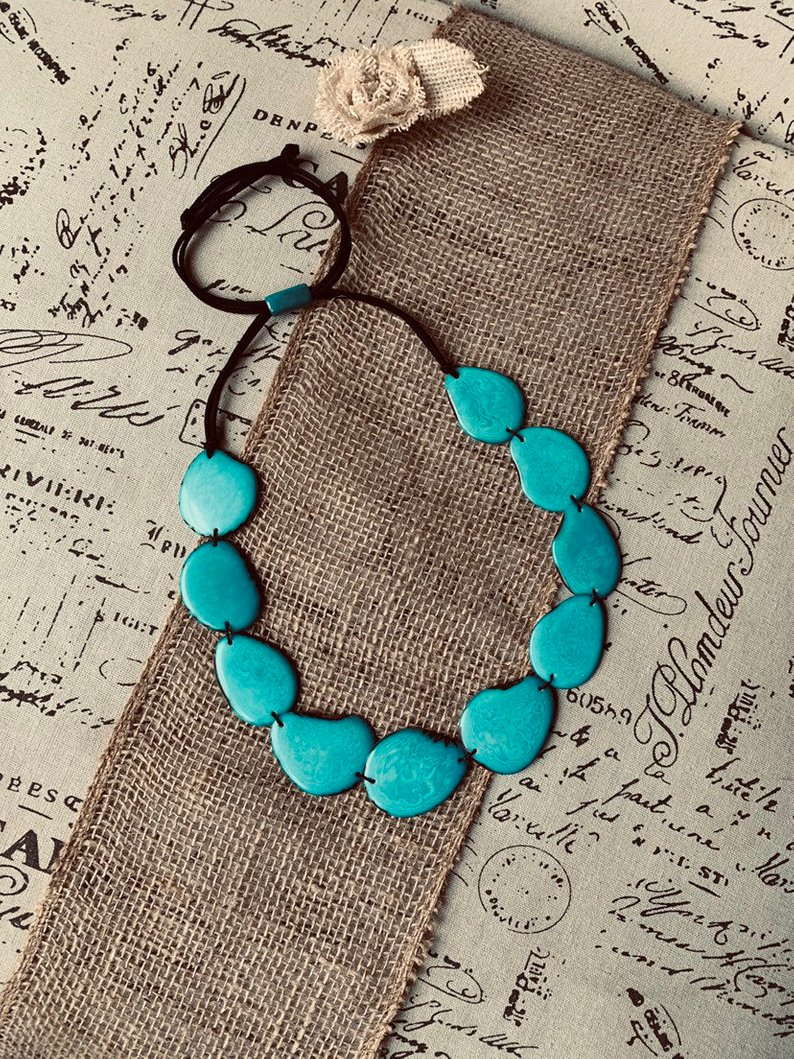 Turquoise Single layer tagua necklace