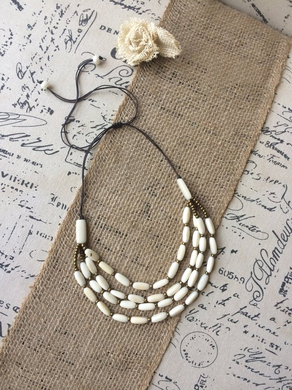 White tagua necklace 4 layers