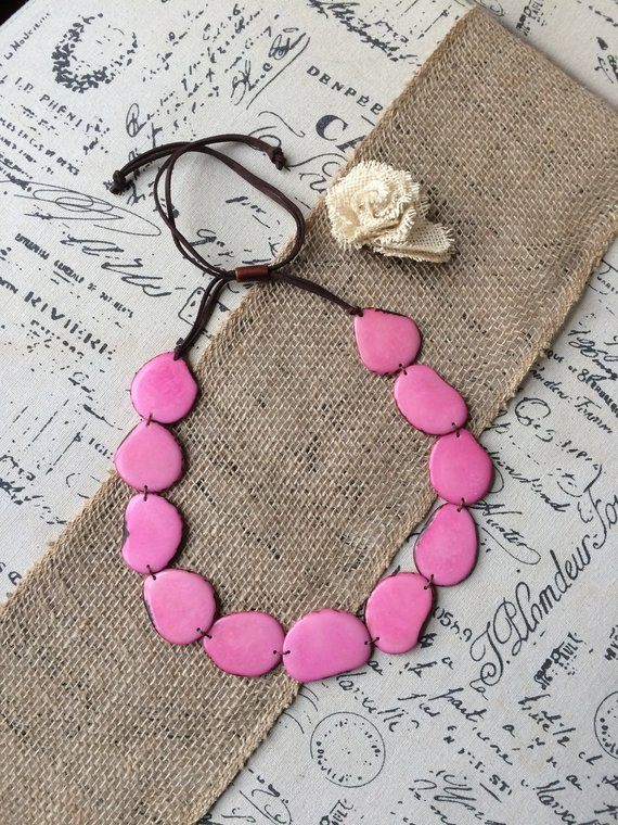 pink simple tagua necklace