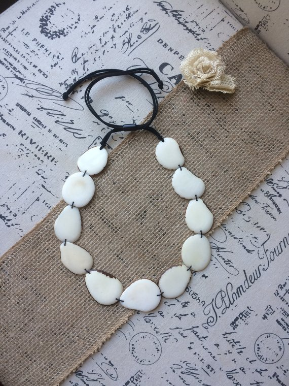 white simple tagua necklace